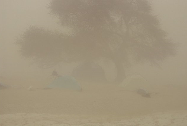 BoDEx base camp Chica during a dust storm